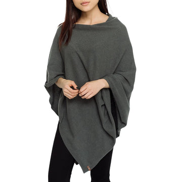 Grey Poncho - Women's Faux Cashmere Poncho Sweater, Wrap, Shawl, or Travel Blanket