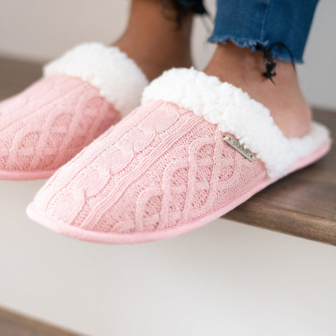 Creekside Slide Slippers | Cable Knit Blush