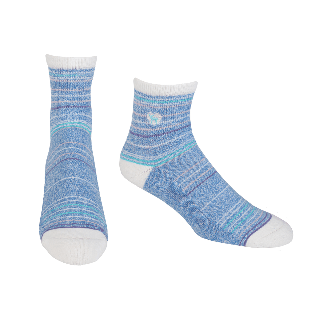 Cushioned Socks | Comfy Quarter Crew | Seaside Blue