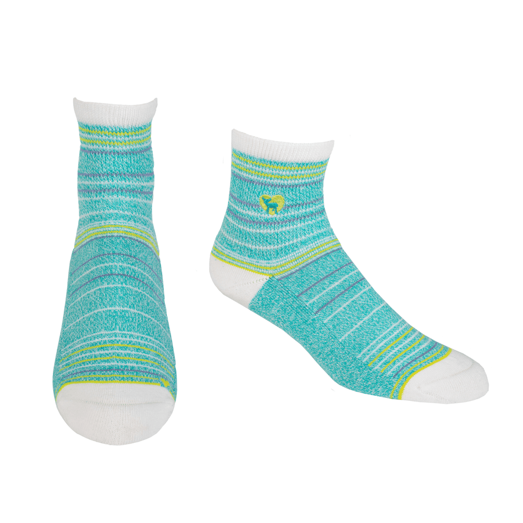 Cushioned Socks | Comfy Quarter Crew | Seaside Peacock