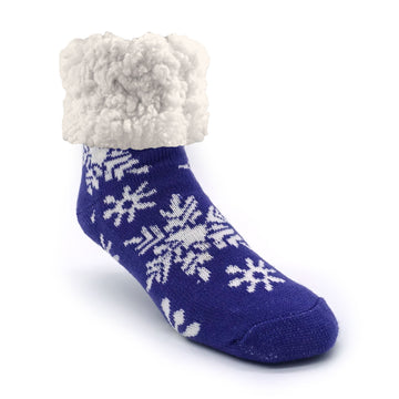 Pudus Cozy Winter Slipper Socks for Women and Men with Non-Slip Grippers and Faux Fur Sherpa Fleece - Adult Regular Fuzzy Socks Snowflake Purple - Classic Slipper Sock