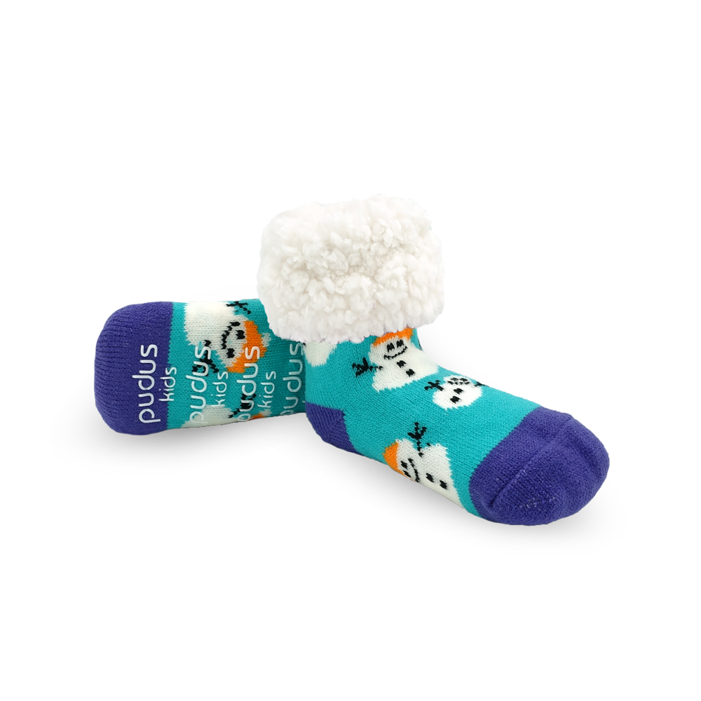 Kids Classic Slipper Socks | Snowman Aqua