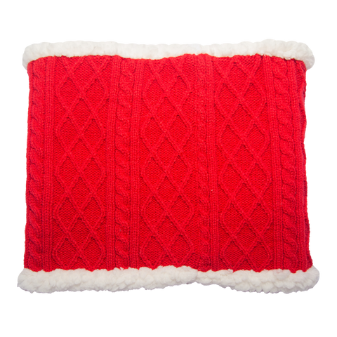 Cable Knit Snood Gaiter Neck Warmer | Red