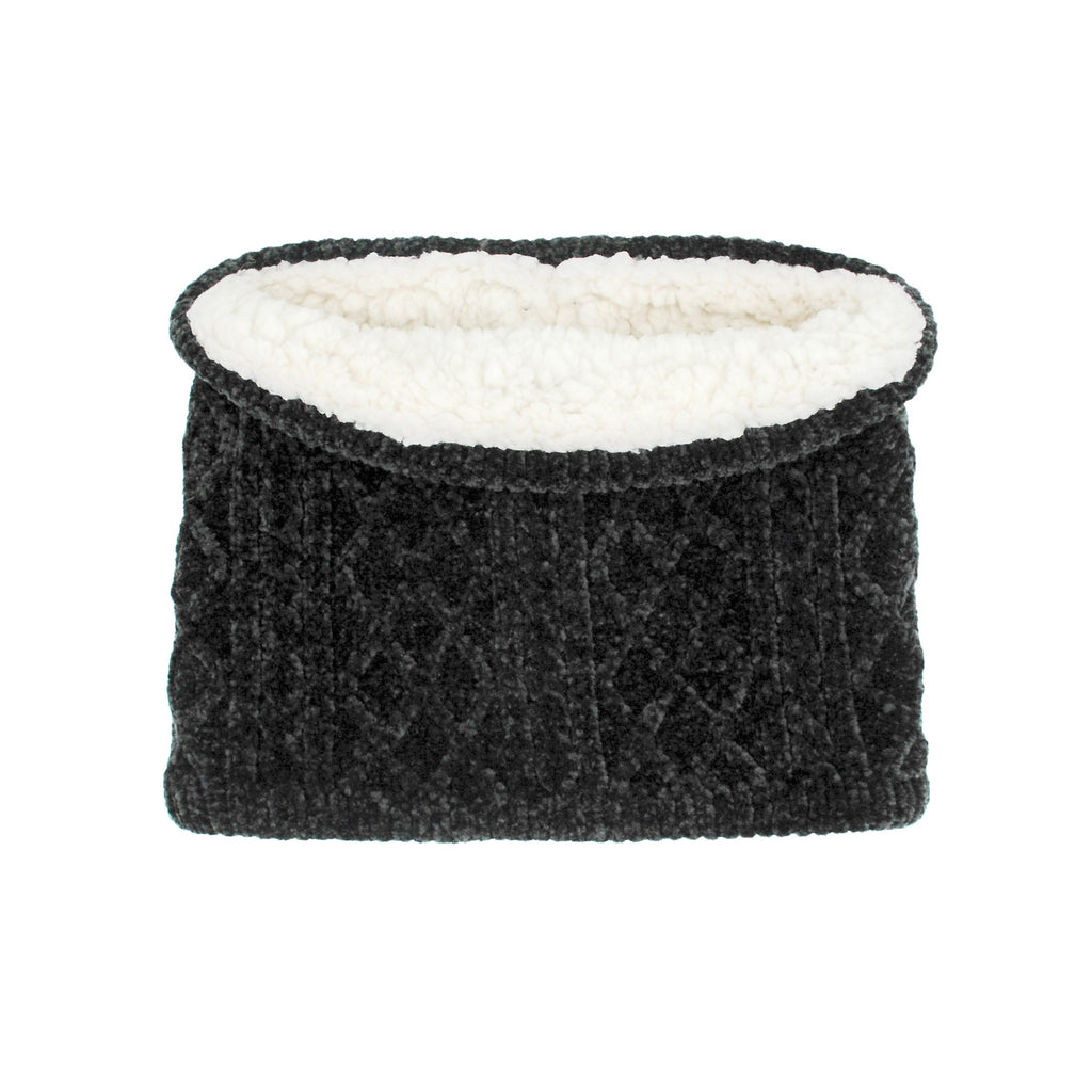 Pudus Cable Knit Winter Infinity Scarf Black, Fleece-Lined Neck Warmer Circle Snood Chenille