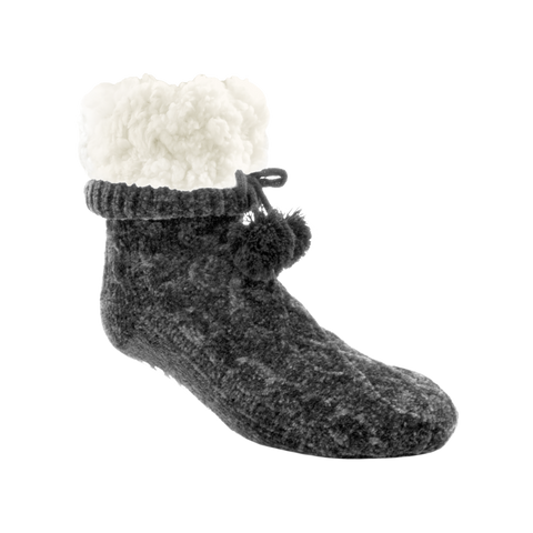 Classic Slipper Socks | Chenille Knit Grey
