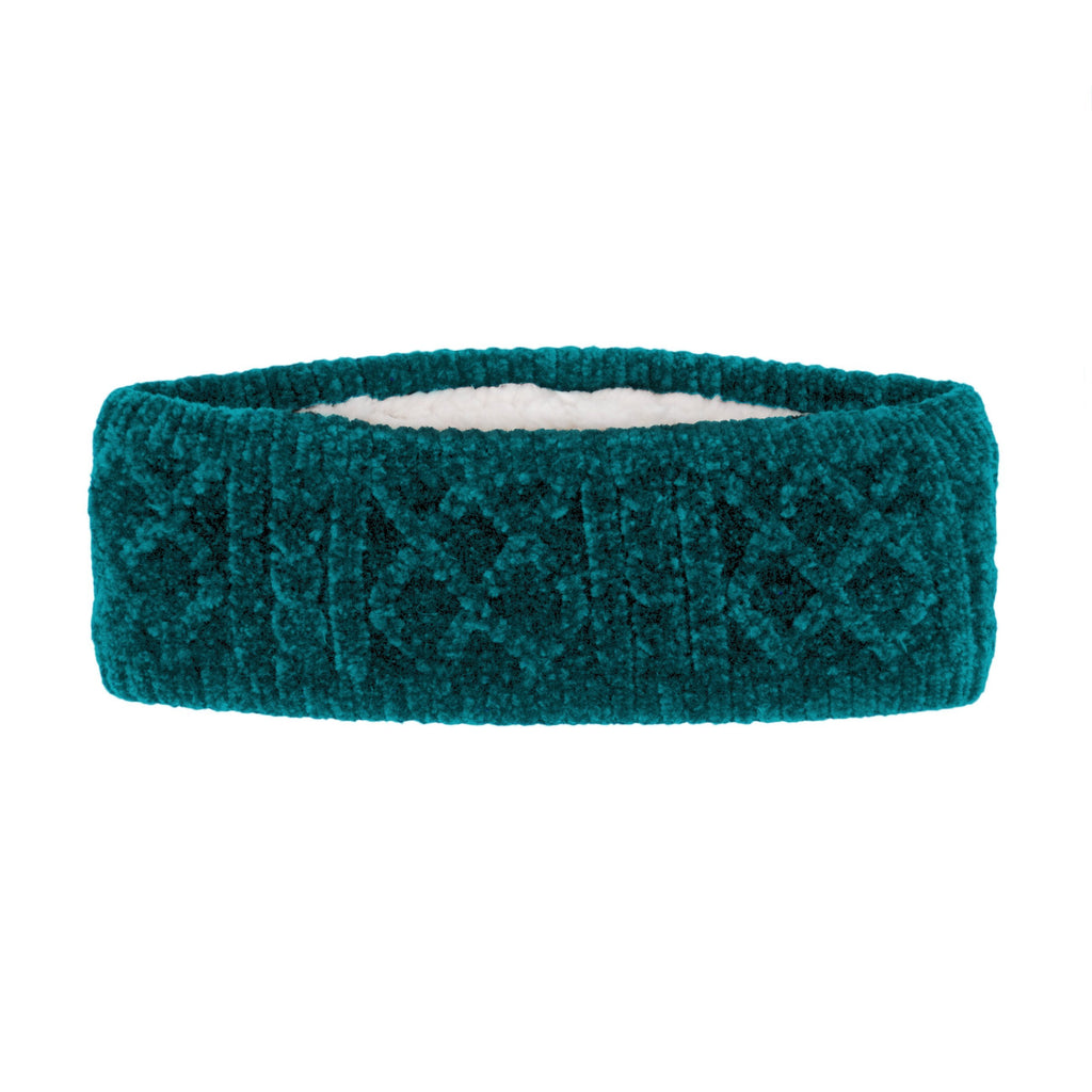 Pudus Harbor Teal Chenille Cable Knit Headband for Women - Ear Warmer, Winter Headband with Warm Faux Fur Fleece