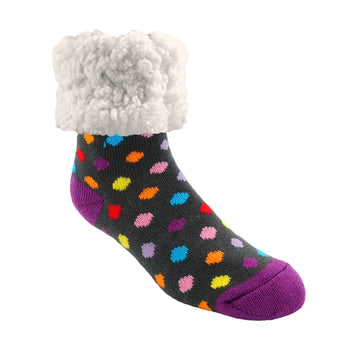 Pudus Cozy Winter Slipper Socks for Women and Men with Non-Slip Grippers and Faux Fur Sherpa Fleece - Adult Regular Fuzzy Socks Polka Dot Multi - Classic Slipper Sock