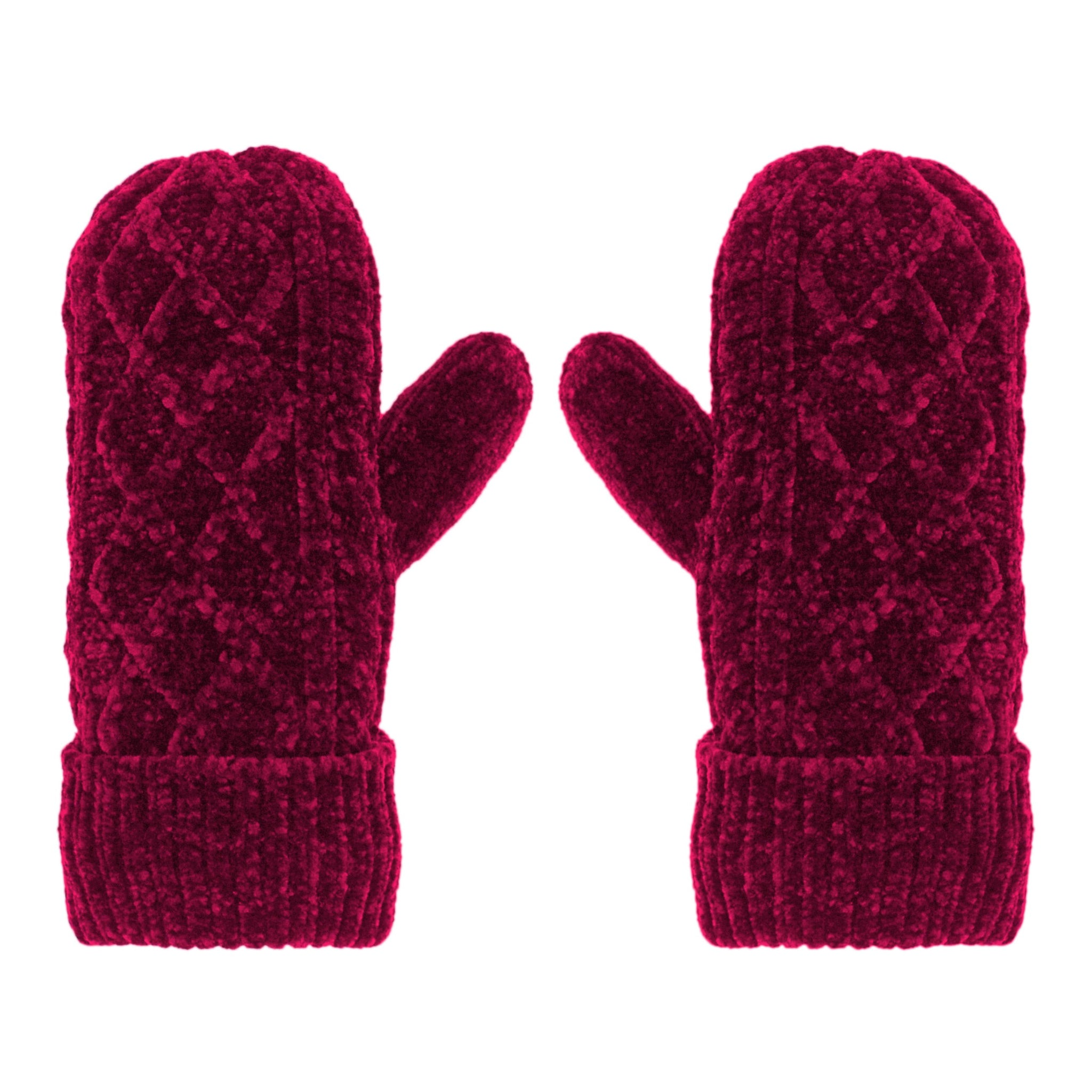Chenille Knit Winter Mittens | Raspberry