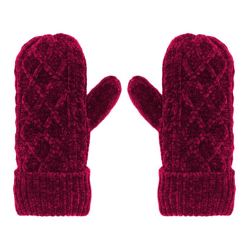 Pudus Chenille Cable Knit Winter Mittens for Women, Fleece-Lined Warm Gloves Cable Knit Raspberry Chenille - Mittens Adult