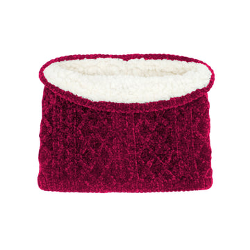 Raspberry Chenille Cable Knit Snood Scarf - Adult Winter Neck Warmer, Neck Gaiter