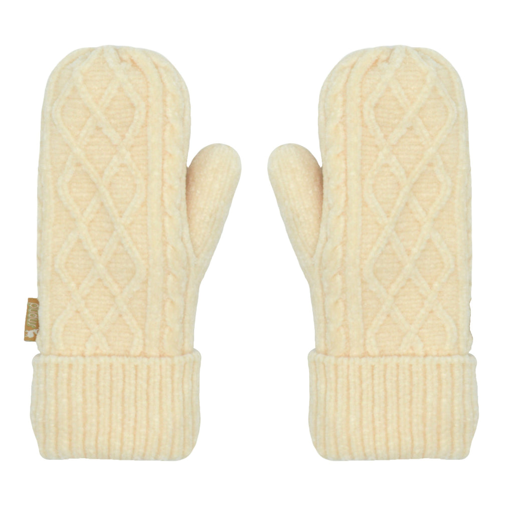 Pudus Chenille Cable Knit Winter Mittens for Women, Fleece-Lined Warm Gloves Cable Knit White Chenille - Mittens Adult