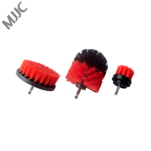 MJJC 3 Piece Medium and Stiff Brush with Drill Attachment Scrubbing Brushes for Cleaning Car Tires,Carpet