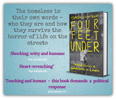 Photo of book about London's homeless people called Four Feet Under, by Tamsen Courtenay