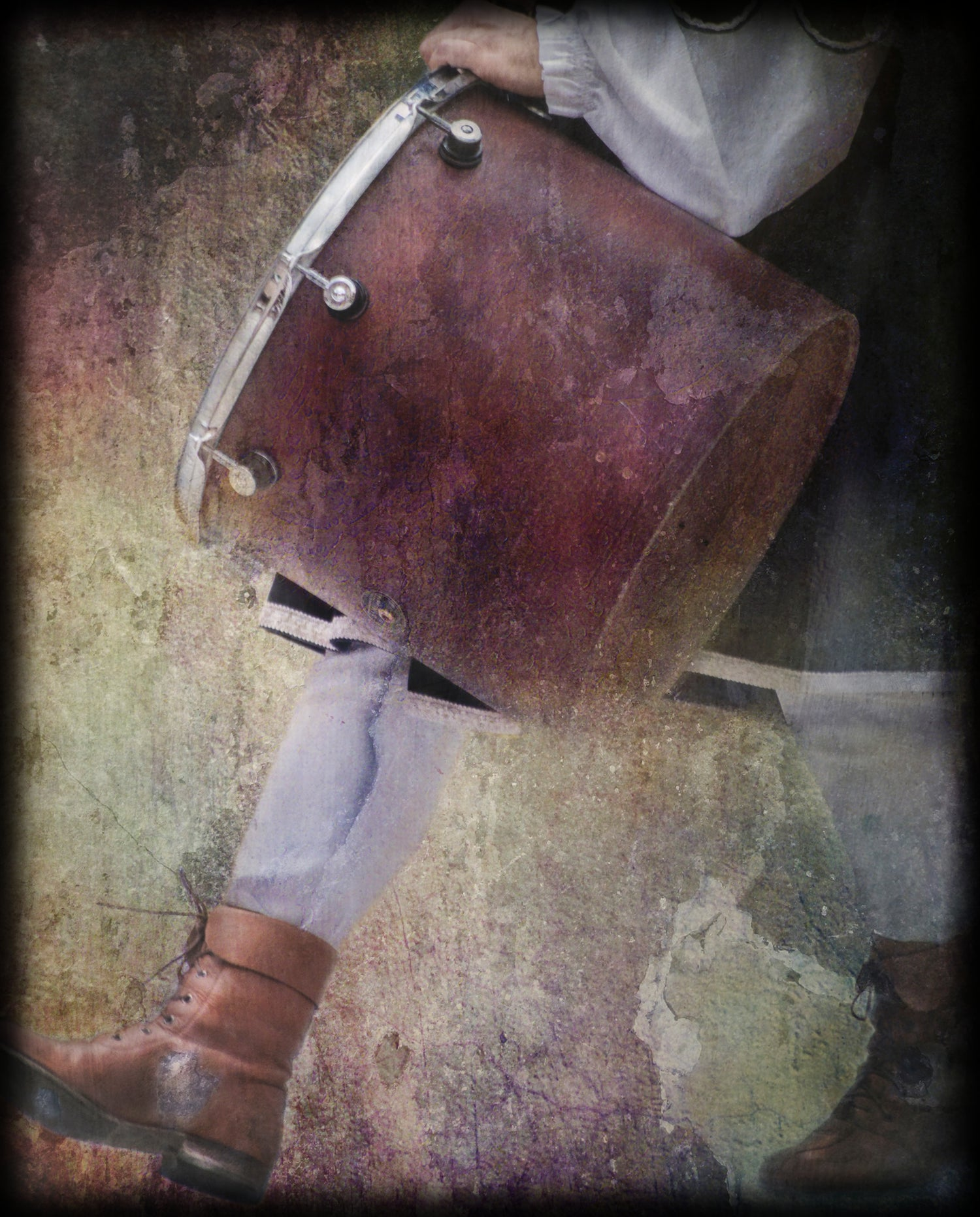 fine art photo of a drummer boy in medieval costume