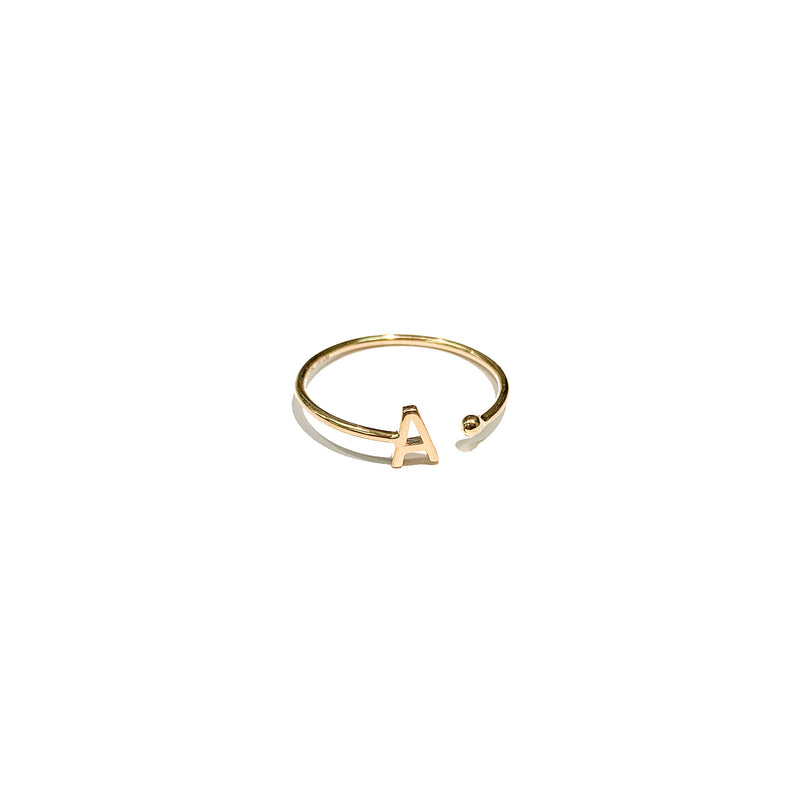 "gold initial ring with letter ""A"""