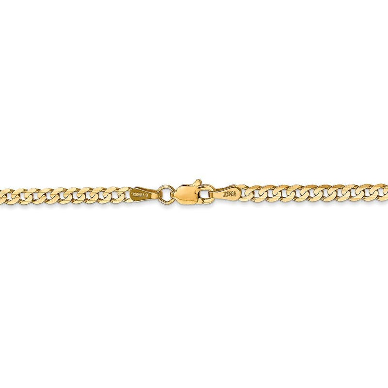 Gold Curb Chain Necklace Lobster Clasp