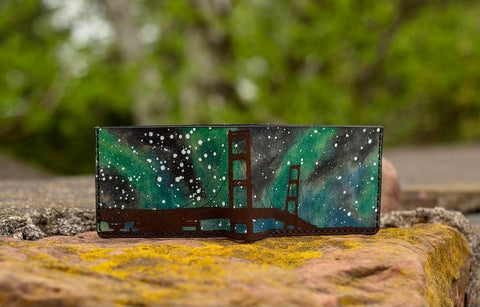 Northern Lights leather wallet from Dead Miners Handmade Goods, Keweenaw Peninsula, Michigan