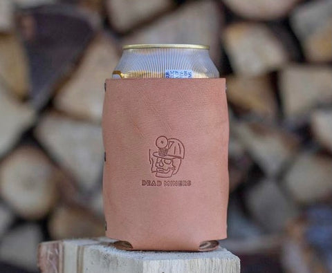 Leather beer can coozie from Dead Miners Handmade Goods, Keweenaw Peninsula, Michigan