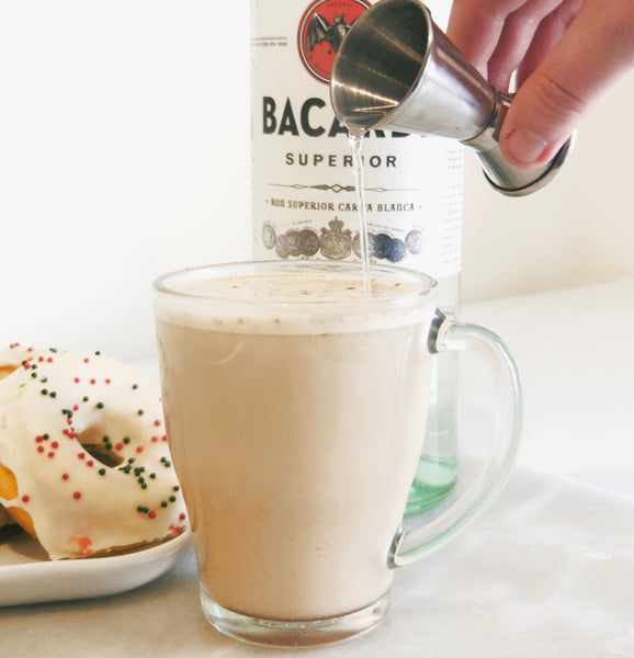 A delicious chai eggnog latte spiked with rum