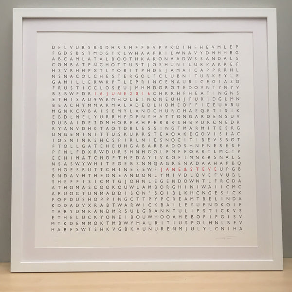 Framed Personalised Word Search Print
