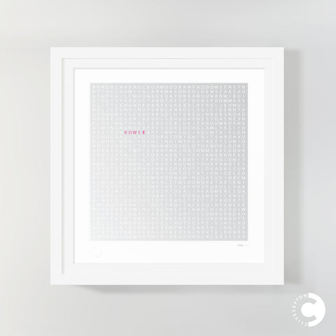 'Bowie' limited edition word search print by Clive Sefton - framed