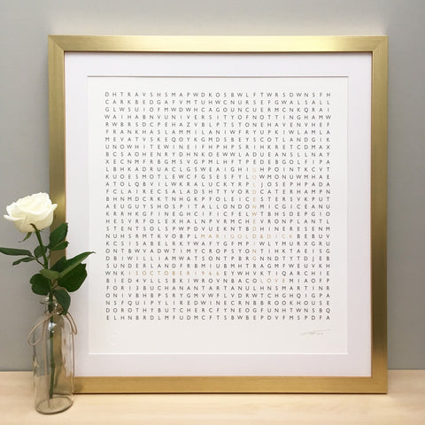 Framed Personalised Golden Wedding Anniversary Print