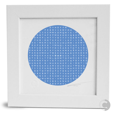 Framed Personalised Word Search Mini Print - Circle