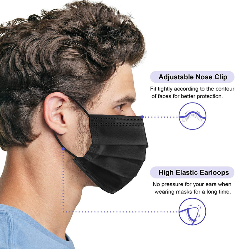 Three Layer Breathable Face Mask with Extra-Soft Ear Loops -10pk