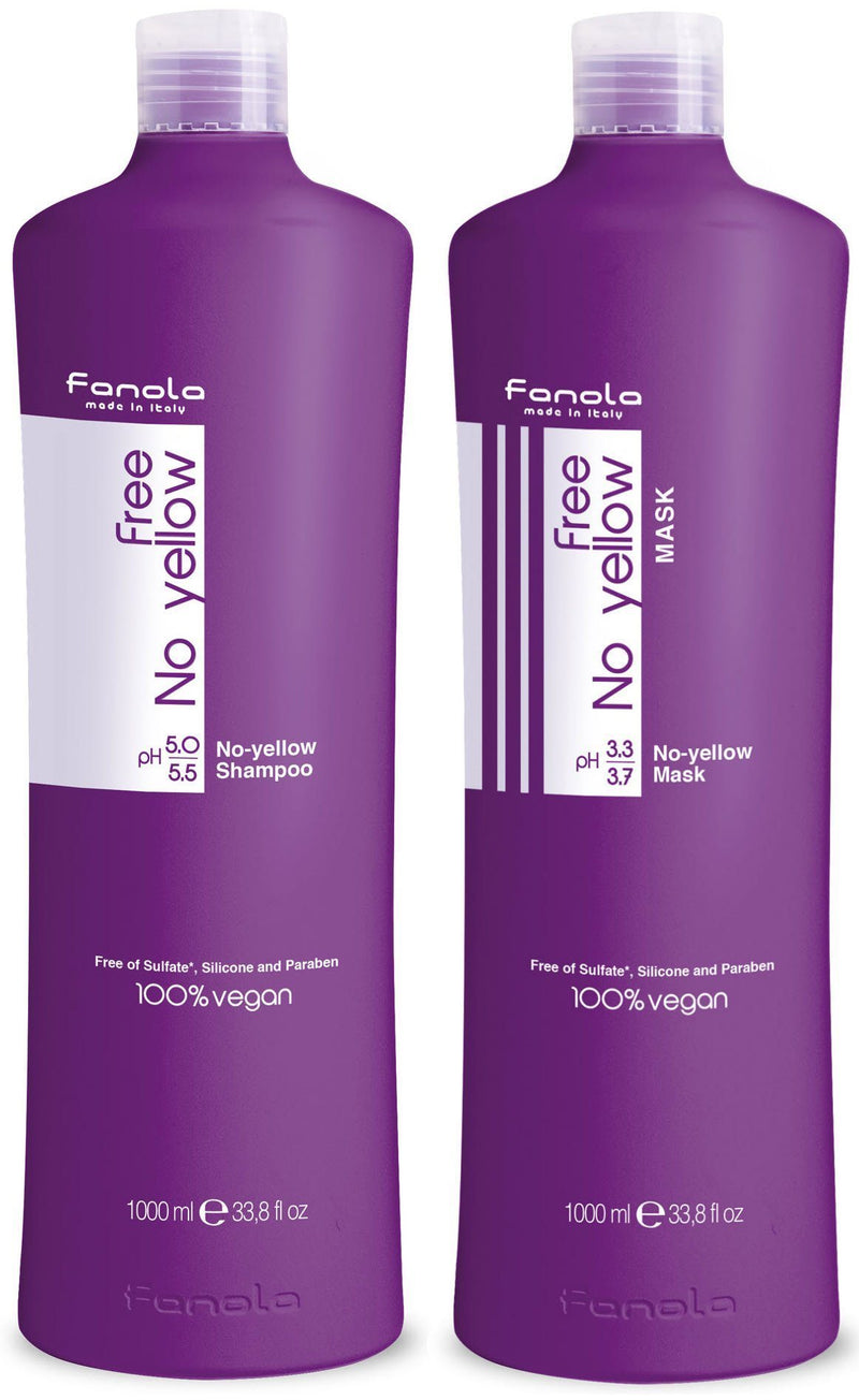 Fanola Free No Yellow Vegan Shampoo and Mask Hair Shampoos Fanola 1000 ml (Fanola Pro)