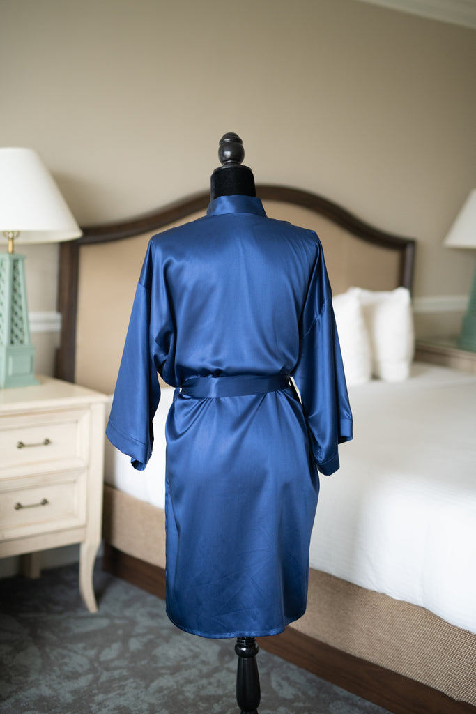 Silk Robe - Blue - Silken Pure