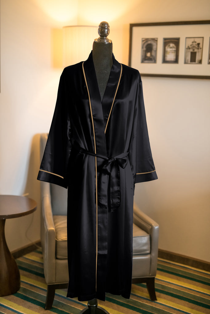 Full Length Black Robe with Gold Trim