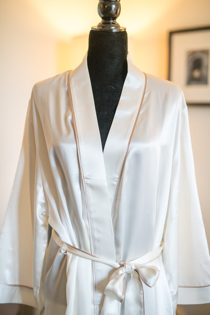 Full Length White Robe with Champagne Trim
