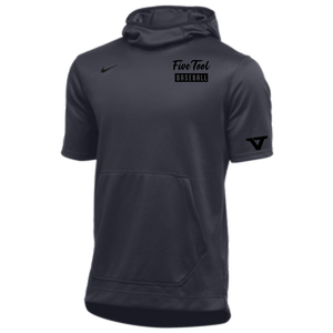 Cool Grey 'Performance' Short Sleeve Hoodie - BLK