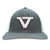 Grey & White 'VT' Fitted Trucker Cap - WHT