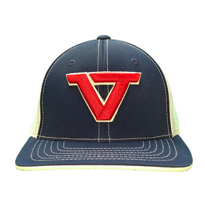Navy 'VT' Fitted Trucker Cap - RED/WHT