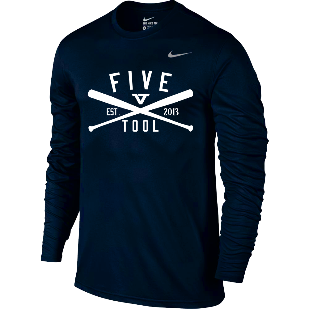 Navy 'Classic Bats' Long Sleeve Legend Tee - WHT