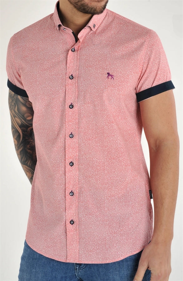 Bewley and Ritch Cali Short Sleeved Shirt WHITE/RED