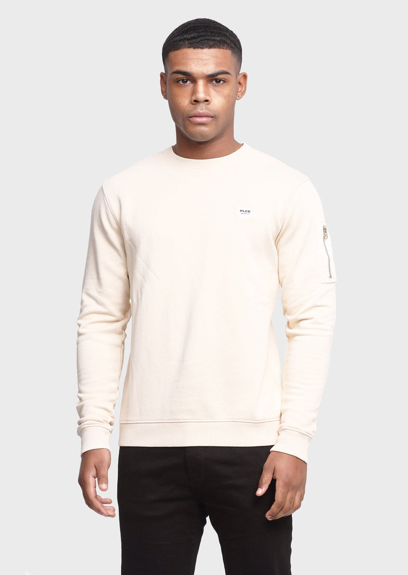 883 Police Snippets 100% Cotton Mens Sweatshirt in Ecru