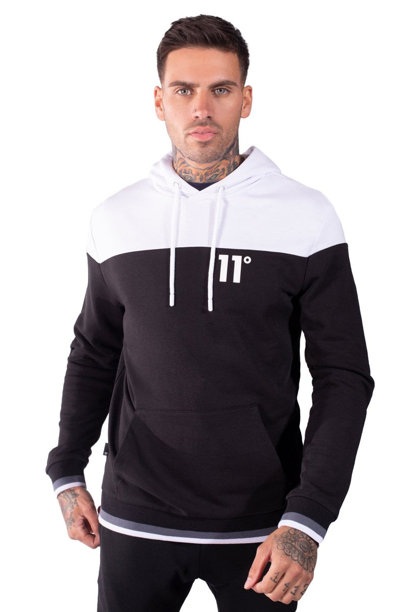 11 Degrees Cut and Sew Ribbed Hoodie - Black/White