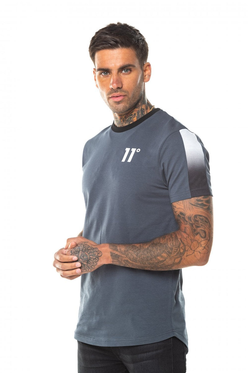 11 Degrees Dot Fade Panelled T-Shirt - Anthracite