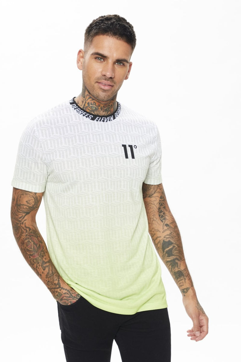 11 Degrees Geo Ombre T-Shirt in Avocado Green 11D318-228