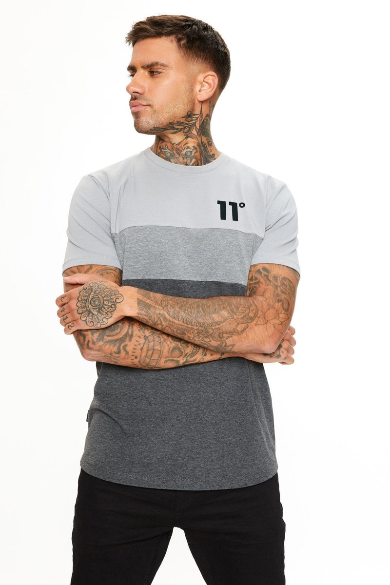 11 Degrees Triple Panel T-Shirt - Anthracite Marl/Mid Grey/Silver