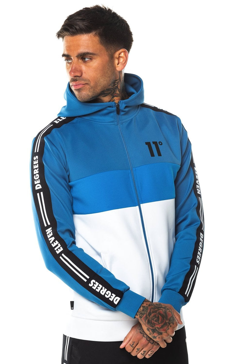 11 Degrees Triple Panel Taped Full Zip Poly Track Top With Hood - White/Deep Water Blue/Bright Blue