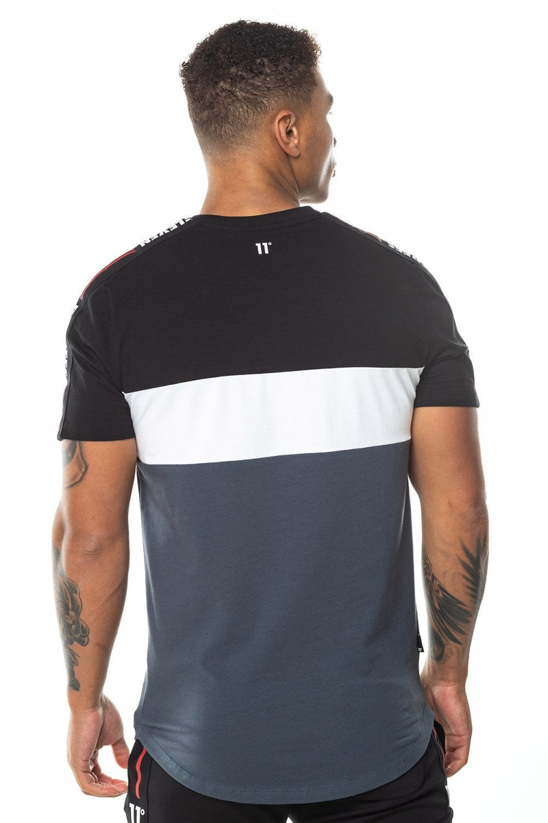 11 Degrees Triple Panel Taped T-Shirt - Anthracite/Black/White