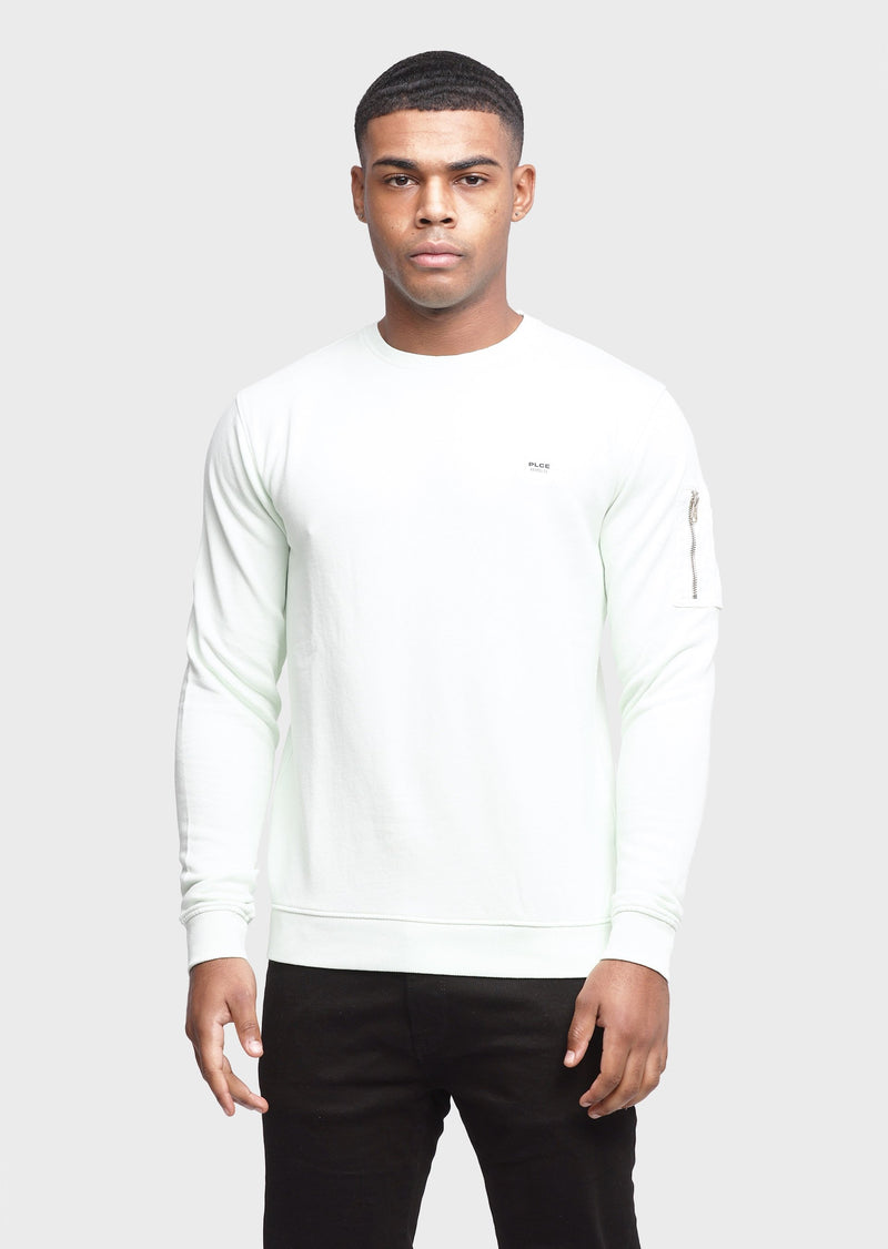 883 Police Snippets 100% Cotton Mens Sweatshirt in Mint Green