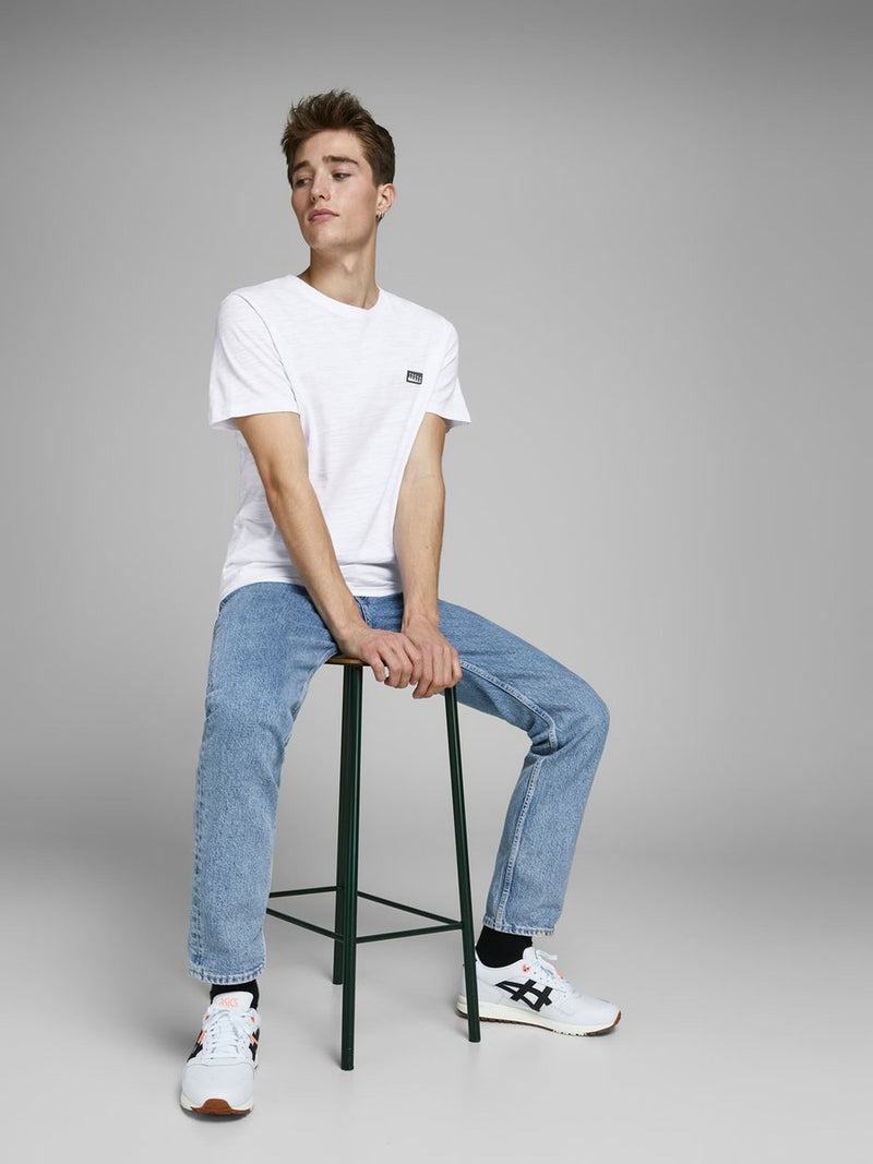 Jack & Jones Kaiden T-shirt with embroidered chest logo in White