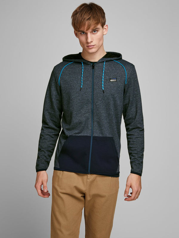 Jack & Jones Colts Zip hoodie with melange look in Navy Blue