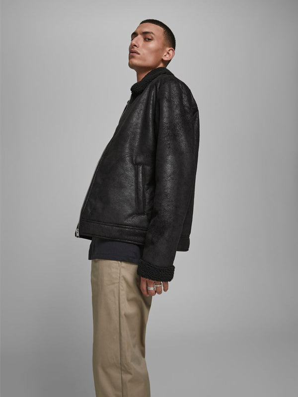 Jack & Jones Aviator Flight Pilot Jacket in faux leather BLACK