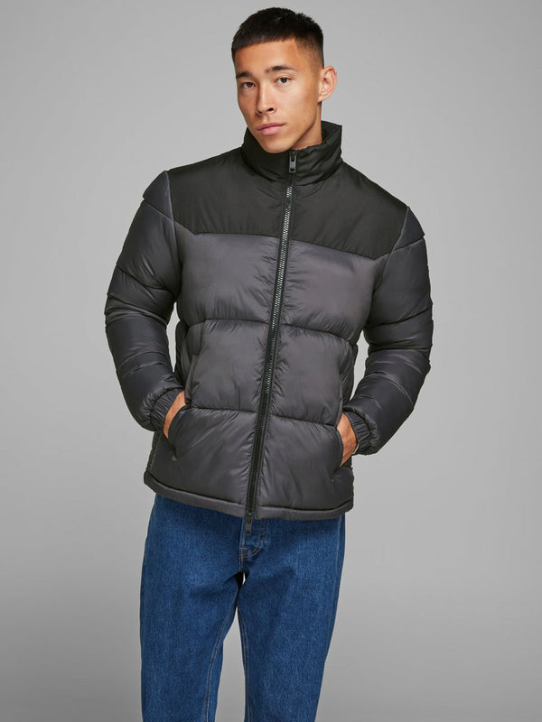 Jack & Jones High Collar Full Zip Drew Puffer Jacket in Asphalt Grey & Black