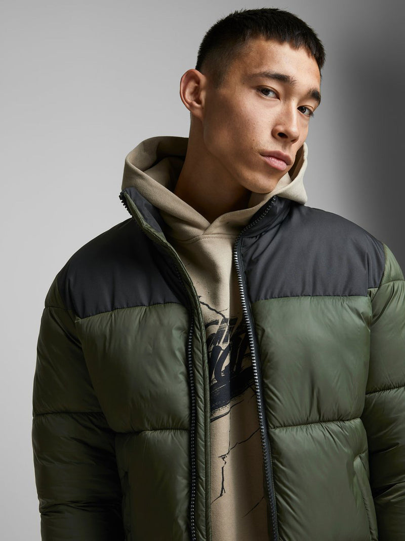 Jack & Jones High Collar Full Zip Drew Puffer Jacket in Forest Night Green & Black